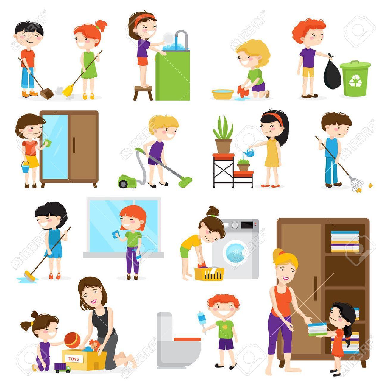 Stock Vector Ninos Dibujos Animados Limpiar La Casa Hogar Y