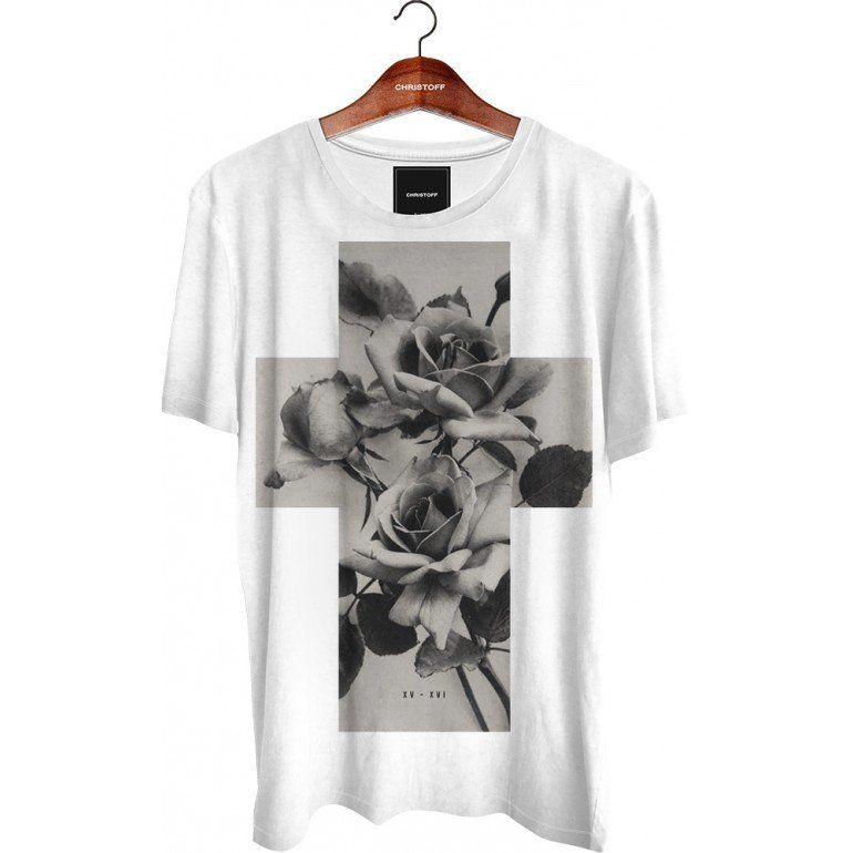 6538f49b85 Camiseta Gola Básica - Cross Roses Girl Face