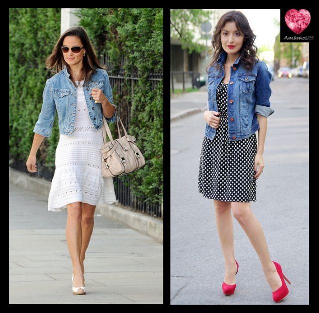 Jaqueta jeans\;vestido curto