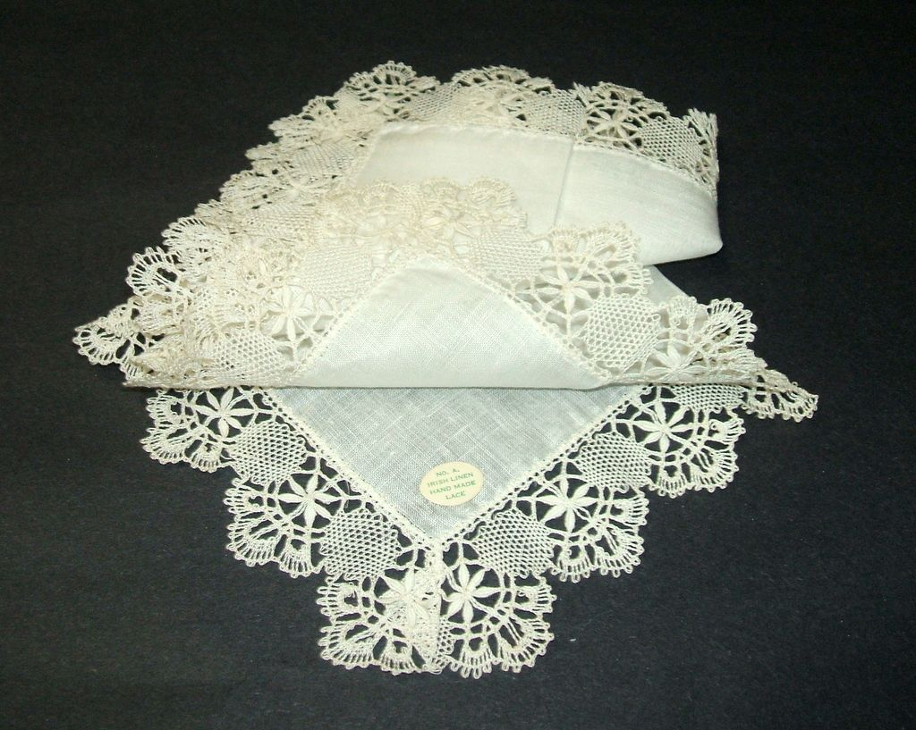 Linens Antique Irish Linen Wedding Handkerchief