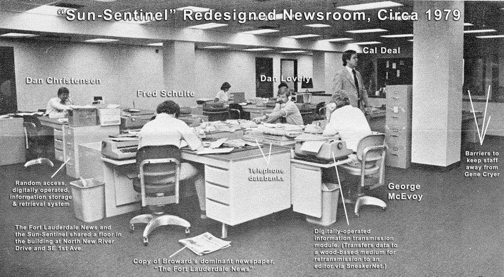 The Sun-Sentinel newsroom in Fort Lauderdale, 1979