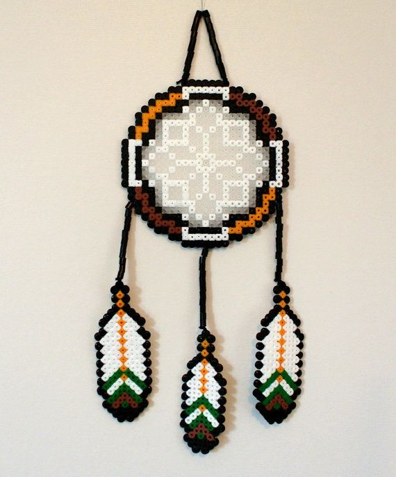 Perler bead dreamcatcher nature with feathers by for Dreamcatcher beads meaning