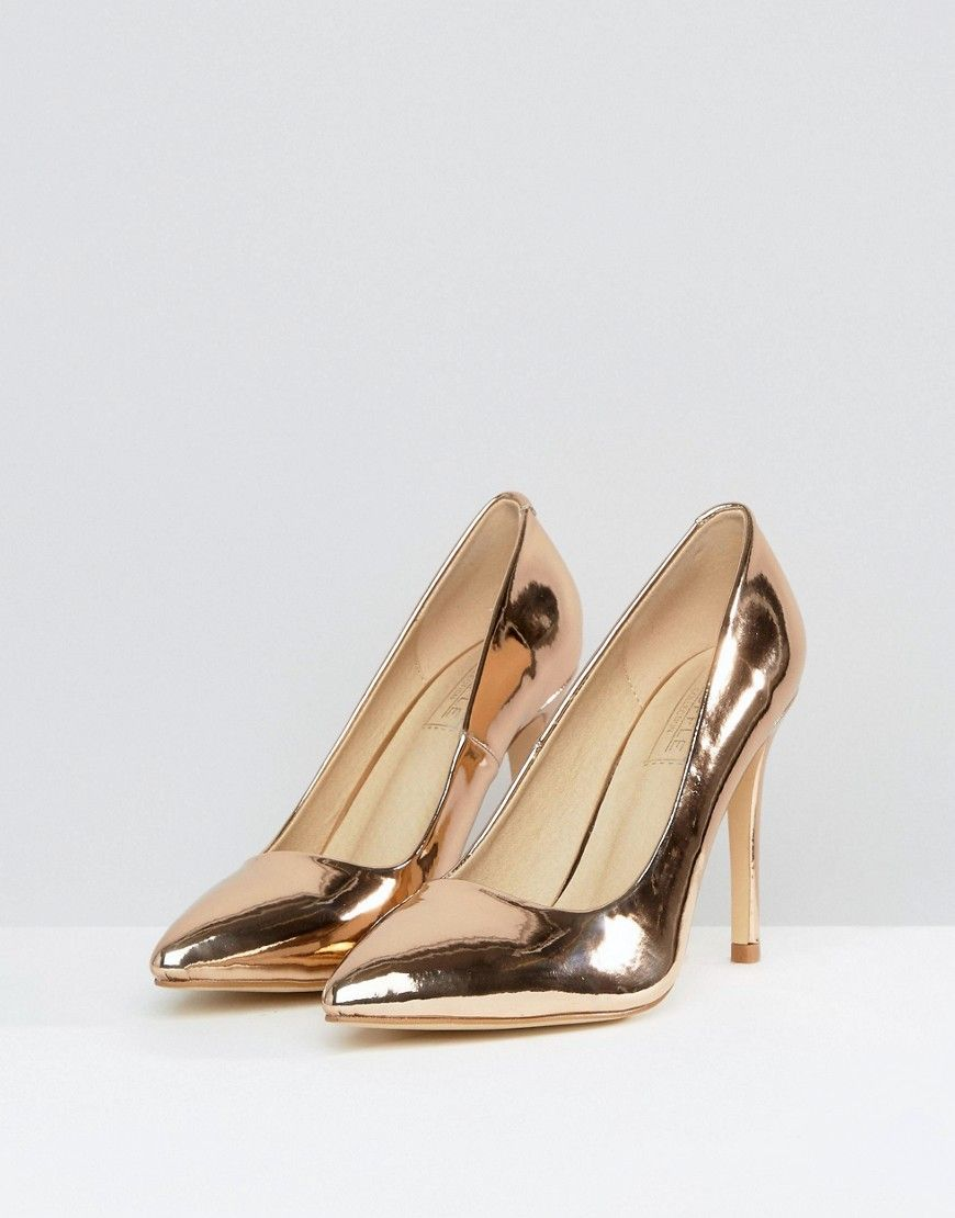 634c931a49c Truffle Collection Metallic Point High Heels - Copper