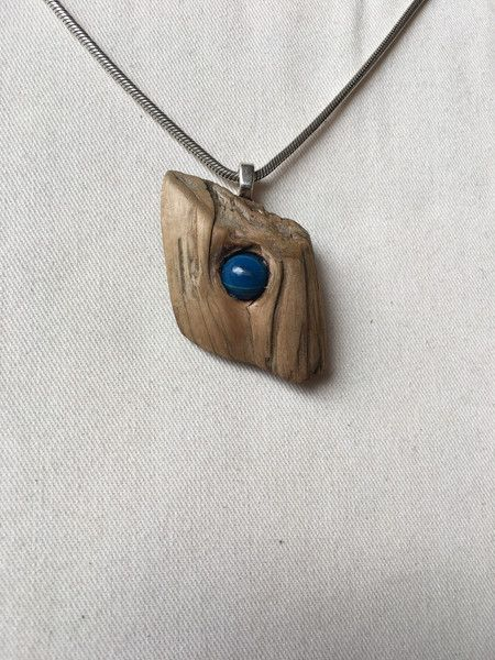 Photo of Wooden pendant – necklace wooden pendant with blue jewelry pearl – a designer …