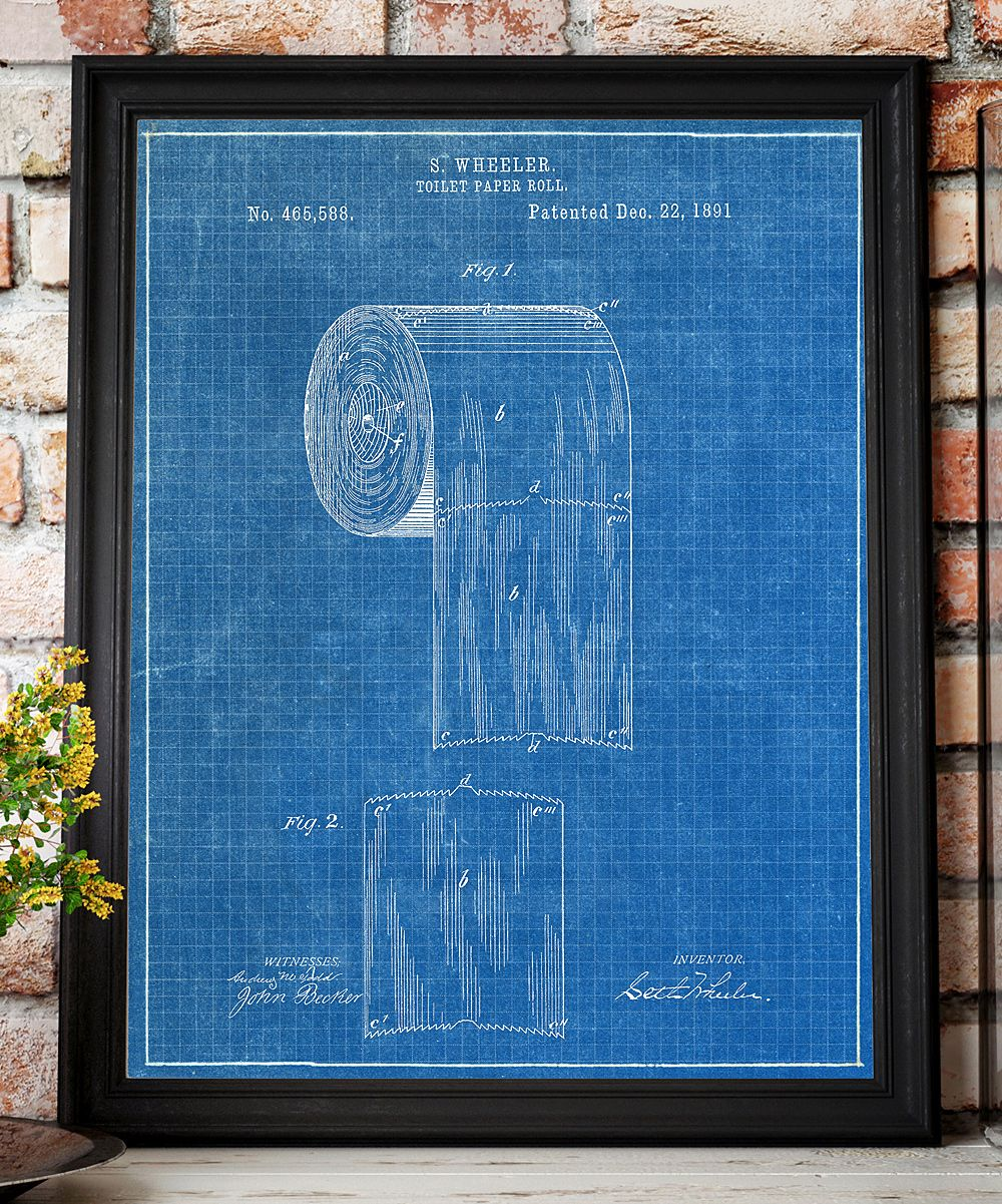 Toilet paper roll 1891 patent blueprint art print blueprint art toilet paper roll 1891 patent blueprint art print malvernweather Images