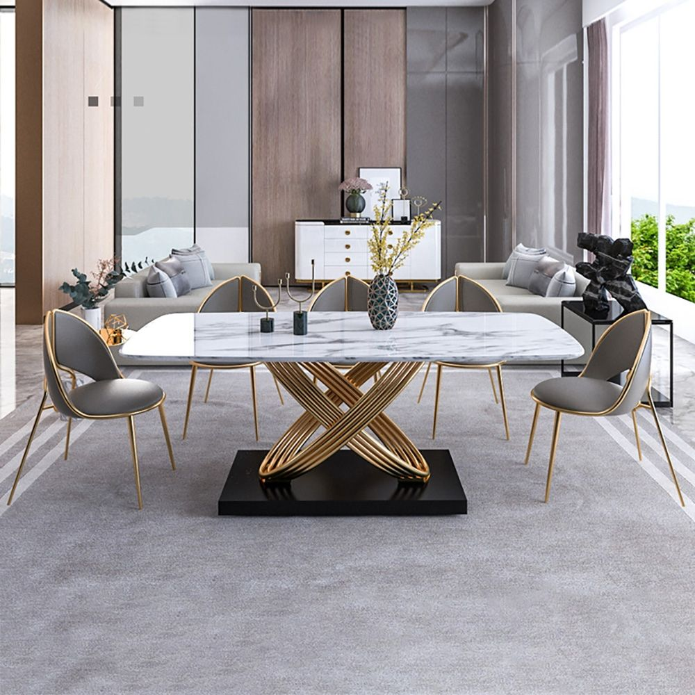 Modern Dining Chair Pu Leather Upholstered Stainless Steel Gold Finish Chair Set Of 2 In 2021 Dining Table Marble Dining Room Design Luxury Dining Room Design Modern