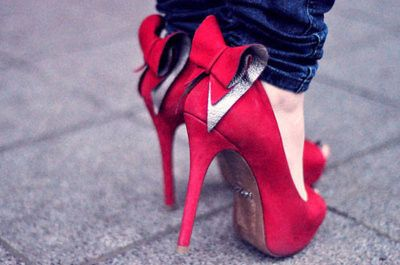 cute, fashion, publicidad, red, red bow shoes, shoes