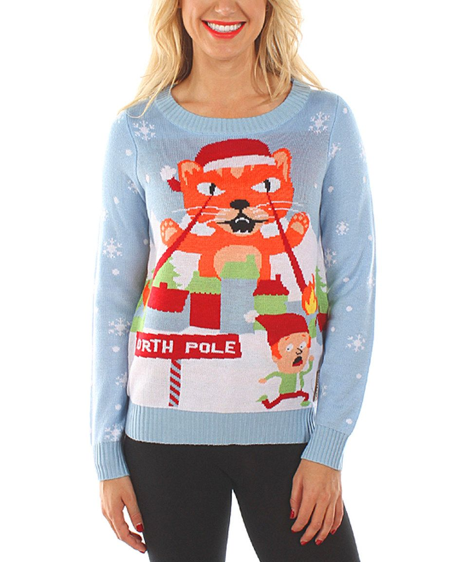 Love this Tipsy Elves Blue Laser Cat Eyes Sweater - Women by Tipsy ...