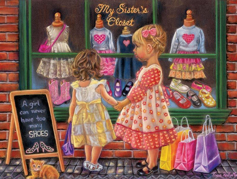 """My Sister's Closet is a 300 piece jigsaw puzzle by SunsOut. Puzzle measures 18"""" x 24"""" when complete. Art by Tricia Reilly-Matthews.Sunsout puzzles are 100% made in the USAEco-friendly soy-based inksRecycled boardsNot sold in mass-market stores"""