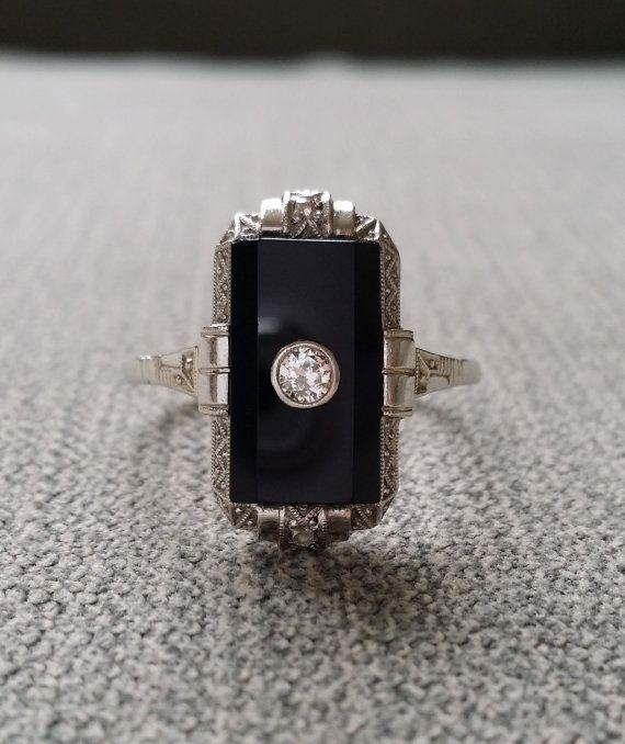 bbaf227bb8aa0 Antique Black Onyx Diamond Ring Filigree Art Deco Engraved Carved ...