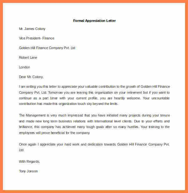 Formal Appreciation Letter Format Sample Thank You Dandy Employee
