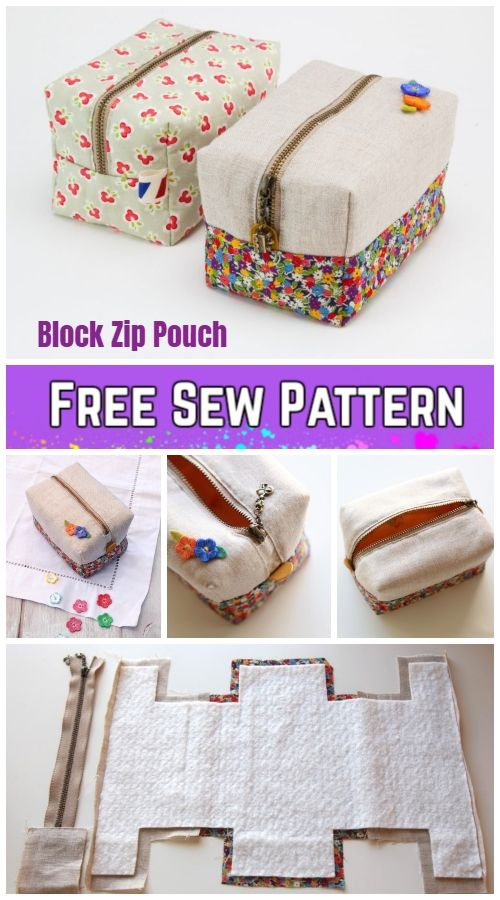 Diy Block Zip Pouch Sew Pattern Tutorial With Template Diy Sewing Projects Pouch Sewing Sewing Projects For Beginners