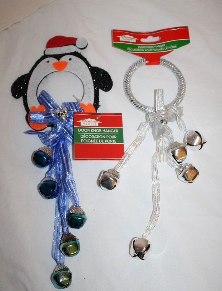 Penguin Door Knob Hanger Silver JINGLE BELLS Christmas House