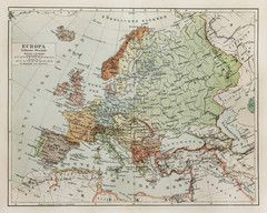Vintage Map of Europe Wall Mural