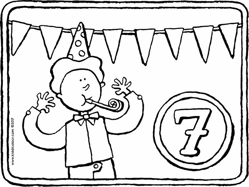 Kleurplaten Verjaardag 7 Jaar.7 Jaar Kleurplaat Kleurprent Tekening 01k Jarig Feest 30