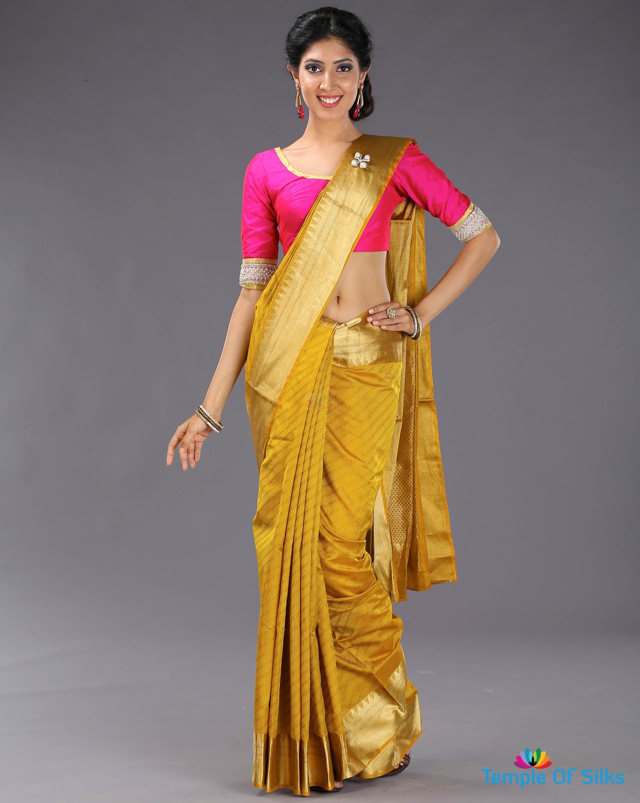 674424d345356 Turmeric yellow silk cotton saree