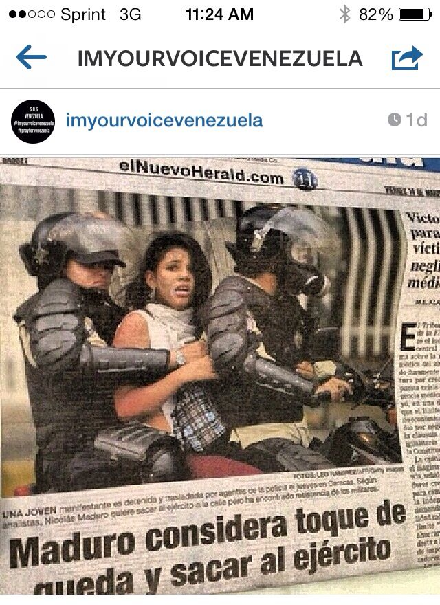 SOS Venezuela #imyourvoicevenezuela  Human Rights. Pray for Venezuela That's right, a young lady taken by government forces. What was her crime?...speak up?...