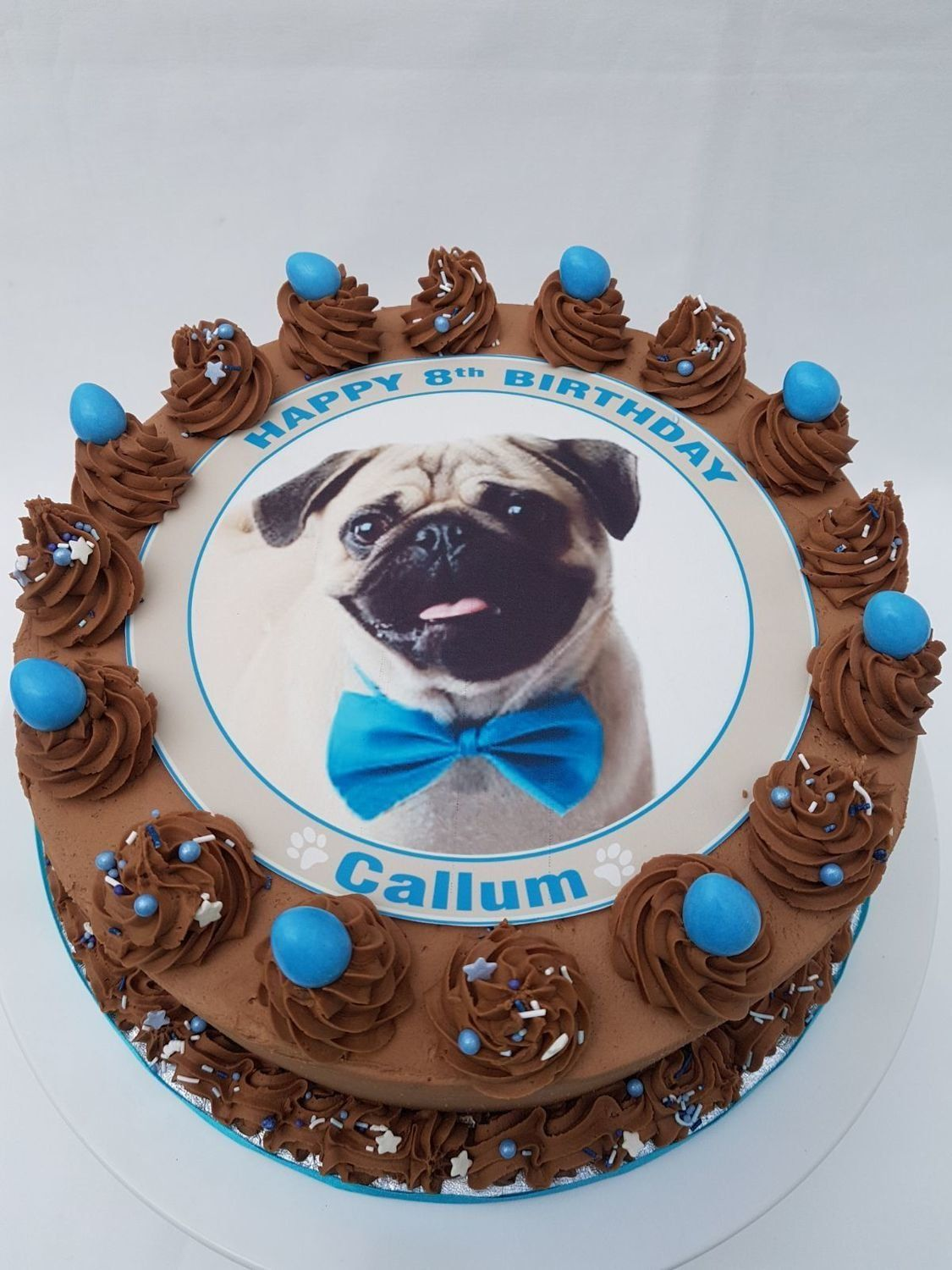 Pug With Blue or Pink Bow Edible Image Cake Edible image
