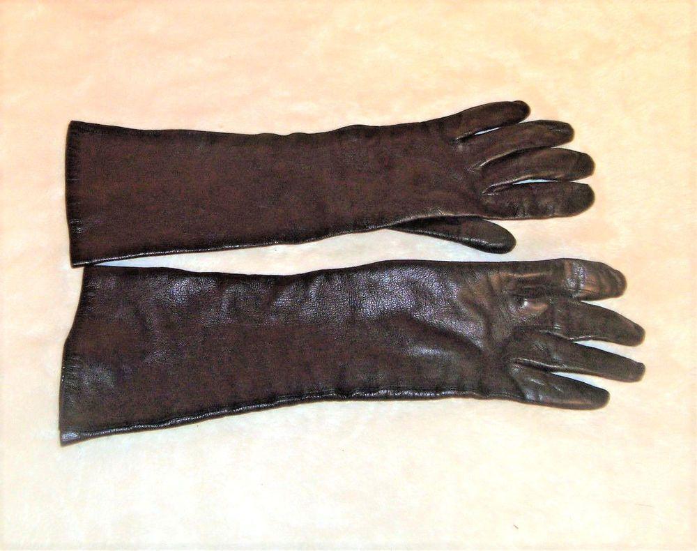 d180a46f0 Vintage Finale Sz 7.5 Long Black Italian Leather Gloves W/ 100% Silk Lining  #Finale #Long #Any