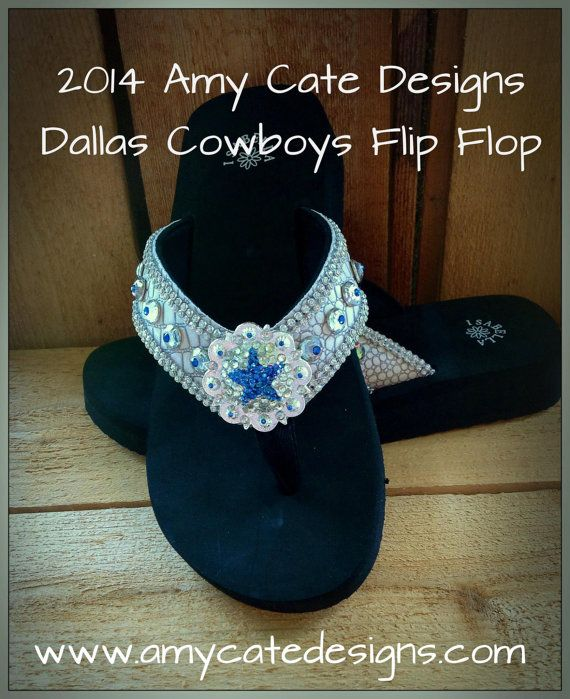 2014 Amy Cate Designs Dallas Cowboys flip flop - made by hand with a center concho full of Swarvowski crystals.