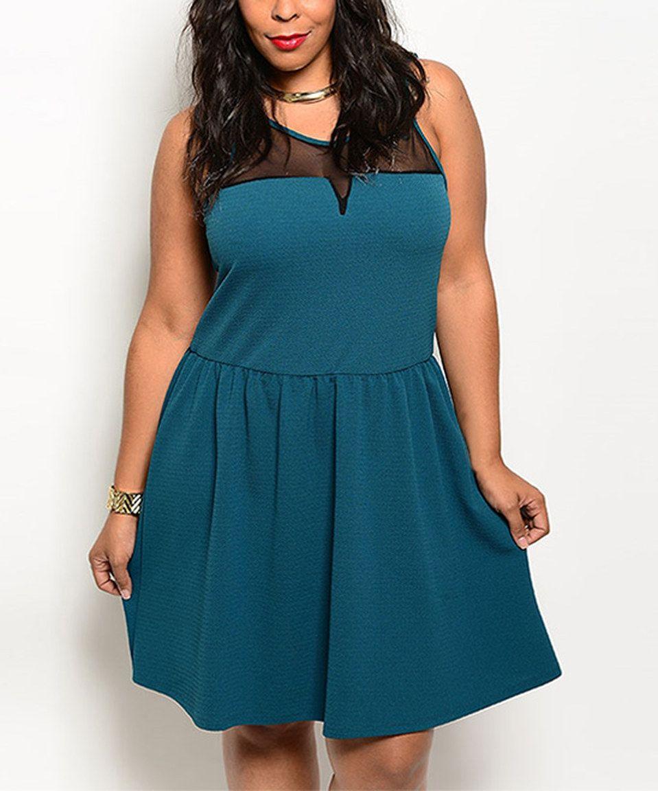 Loving this Green & Black Sheer Sleeveless Dress - Plus on #zulily! #zulilyfinds