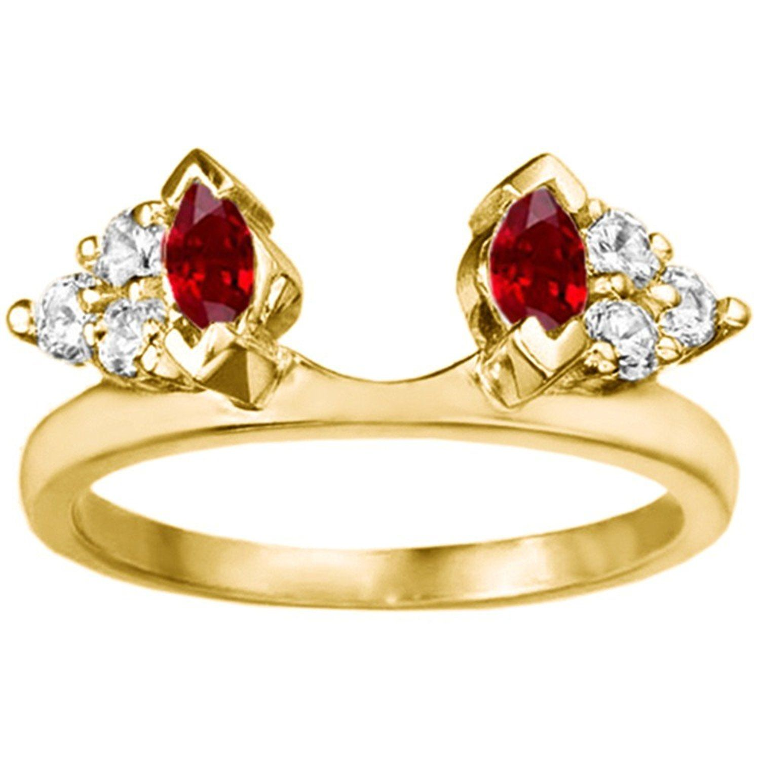 Diamond and Created Ruby Ring Wrap Enhancer set in