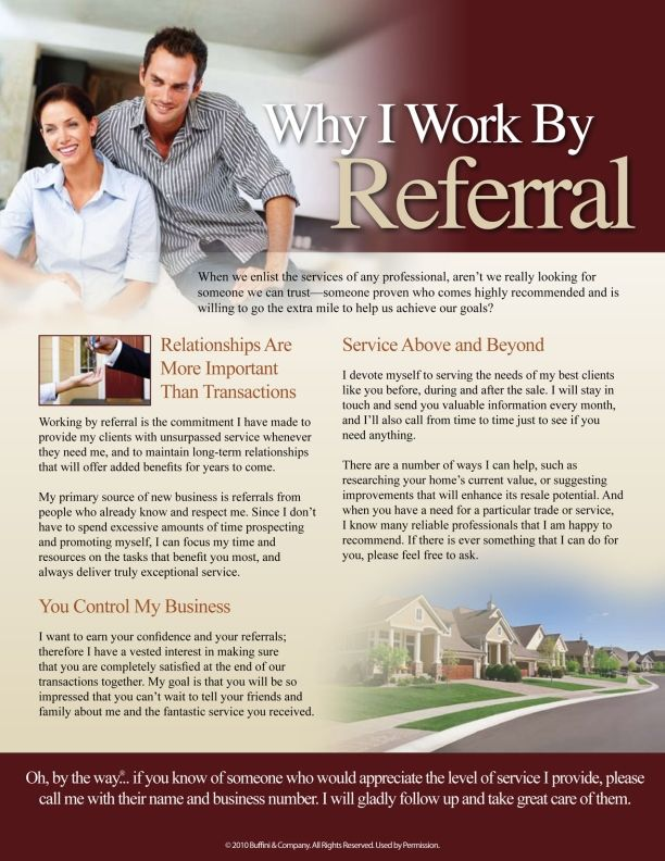 Why We Work by Referral by Buffini