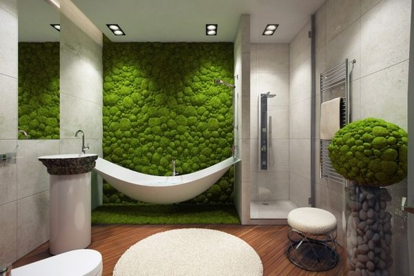 Interior Vertical Gardens For A Modern Bathroom Beautify Your Home With An Original Vertical Garden Moss Wall Bathroom Trends Bathtub Design