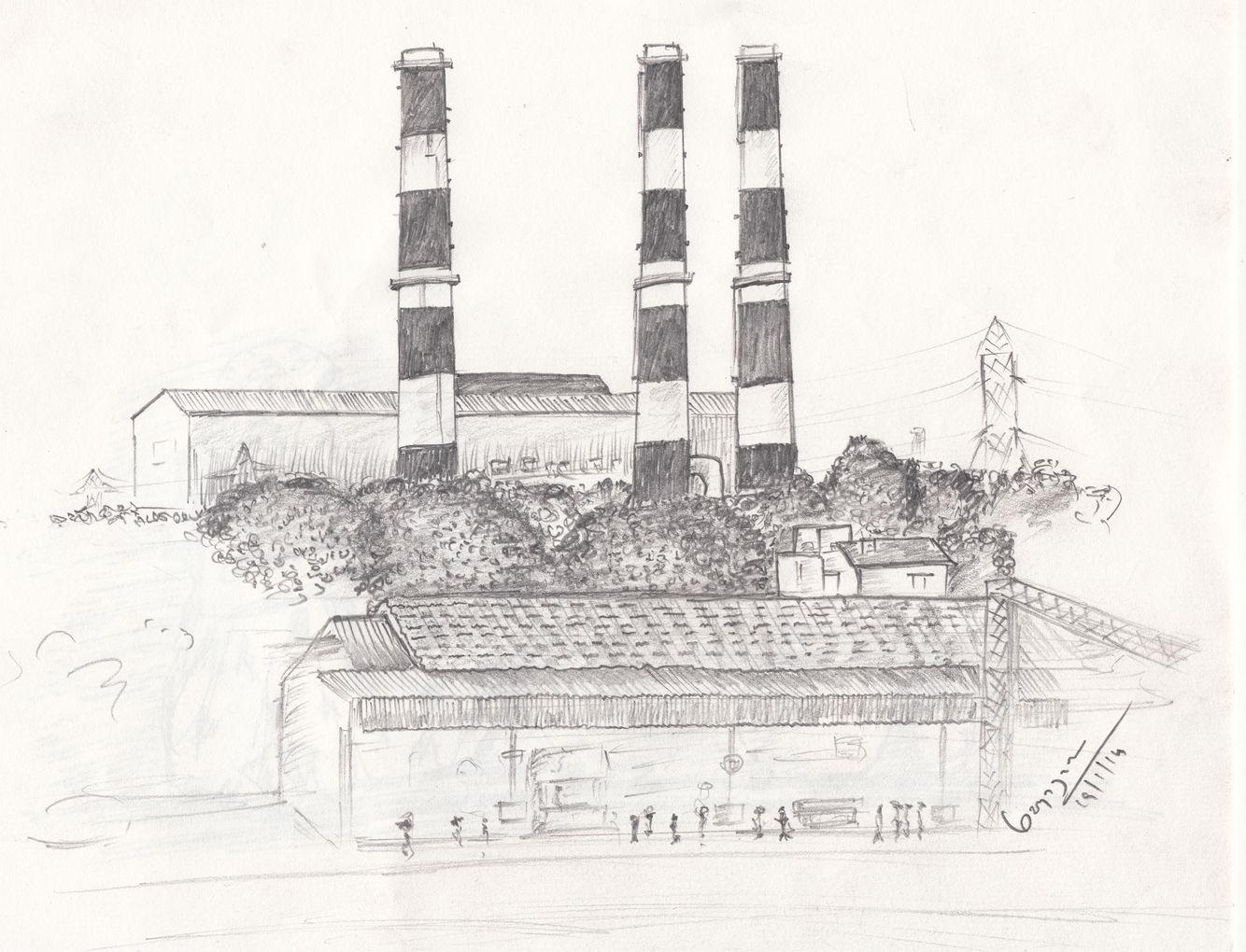 Pencil sketch near basin bridge railway station in chennai