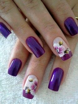 Unhas Decoradas Com Flores Violeta So Delish Nails Pinterest