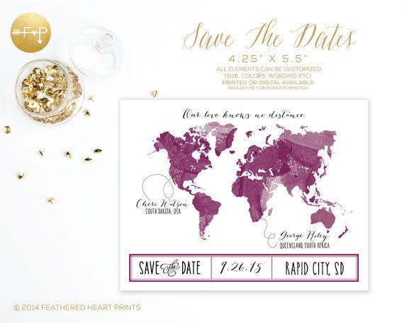 Save the date watercolor world map long distance love by save the date watercolor world map long distance love by featheredheartprints on etsy our gumiabroncs Images