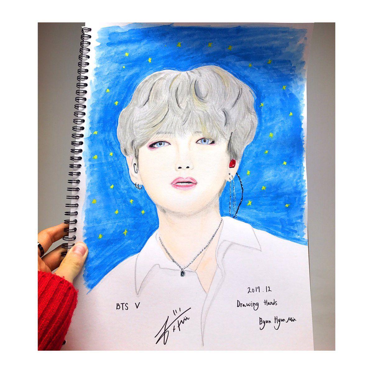 Rainz' Byun Hyun Min draws his role model, BTS' V | Drawings, Role models,  Bts v