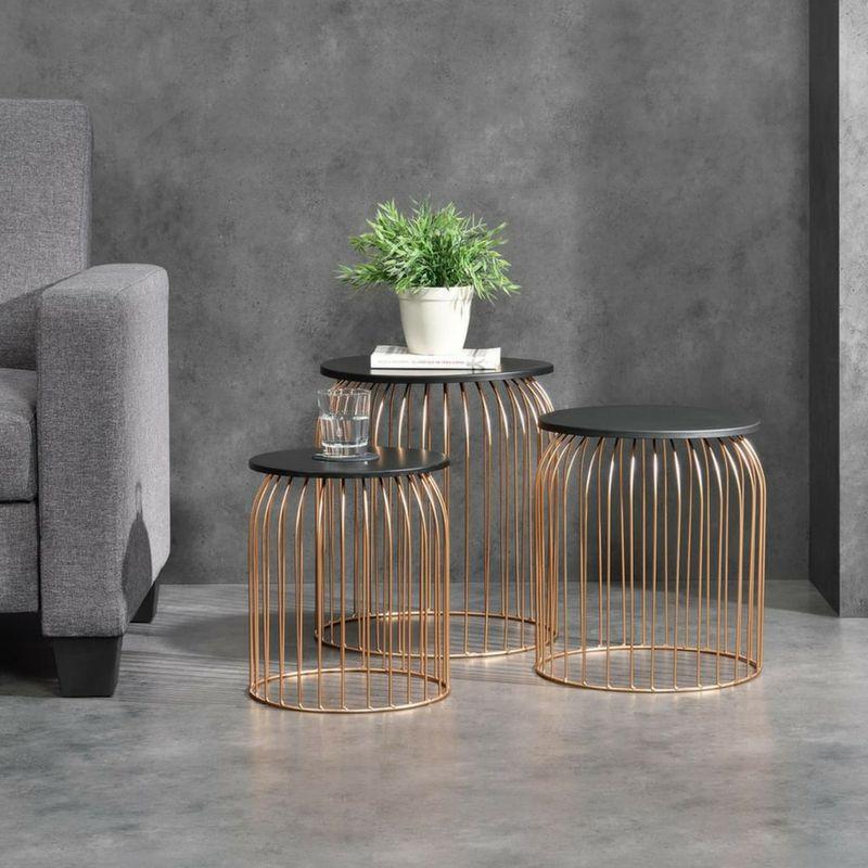 En Casa Metallkorb Im 3er Set Design Beistelltisch Couchtisch Kupferfarben Metall Design Beistelltisch Wohnzimmertische Metallkorb