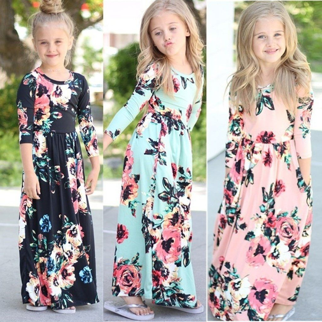 Girls floral sleeve maxi dress flower print kids long gowns
