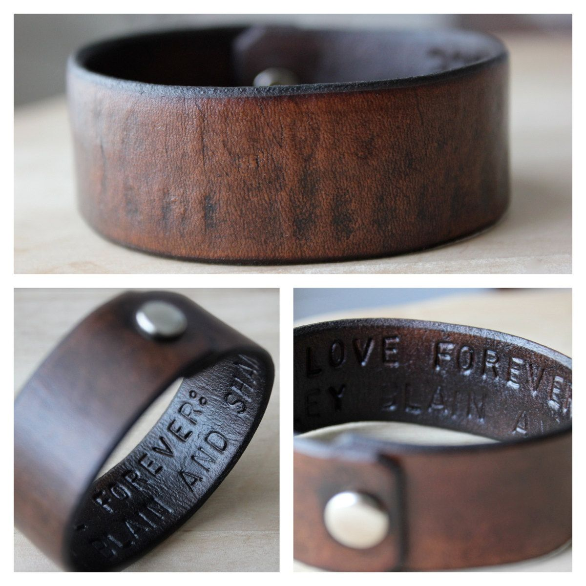 Hidden Message Leather Wrist Cuff Bracelet Personalized  Made To Order