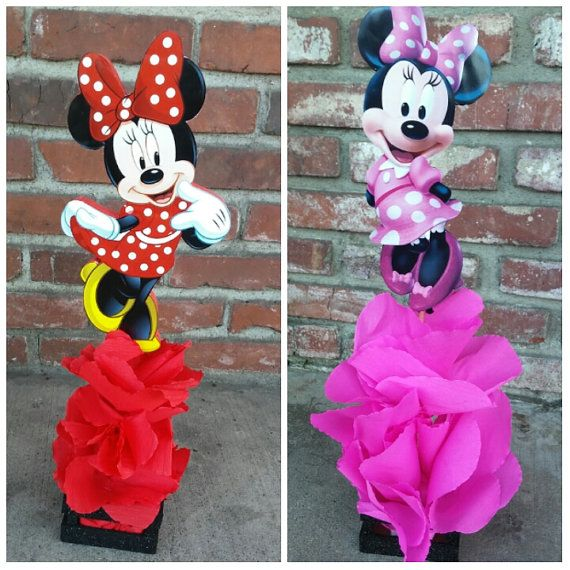 Traditional red minnie mouse wood centerpiece birthday