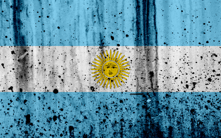 Download Wallpapers Argentinian Flag 4k Grunge South America