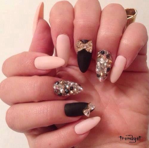 3D Nail Art Pink & Black Bejeweled Nails · Cute NailsPretty NailsCute Almond  ... - 3D Nail Art Pink & Black Bejeweled Nails CATTY GALS Pinterest
