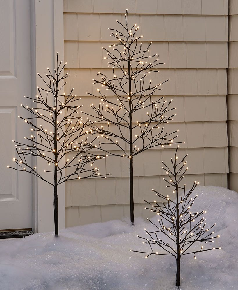 lighted outdoor twig trees with timer