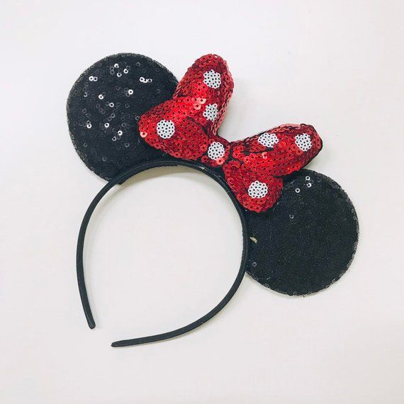 20 pieces Minnie Mickey Mouse Party Ears Headbands with Black Red Polka Dot Bow