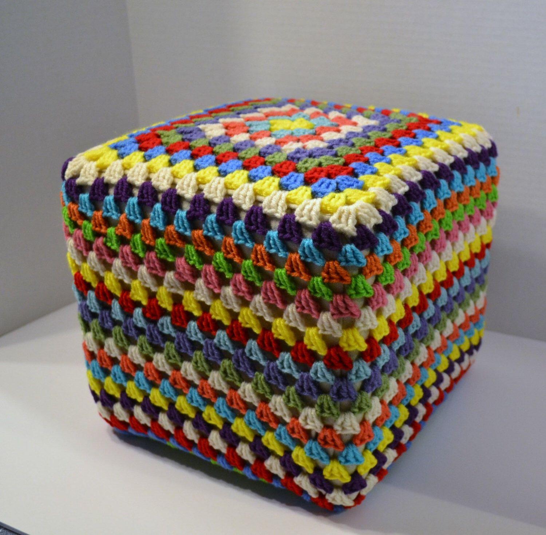 Crochet Footstool Pouf Hassock Ottoman Granny Square Multicolor ...
