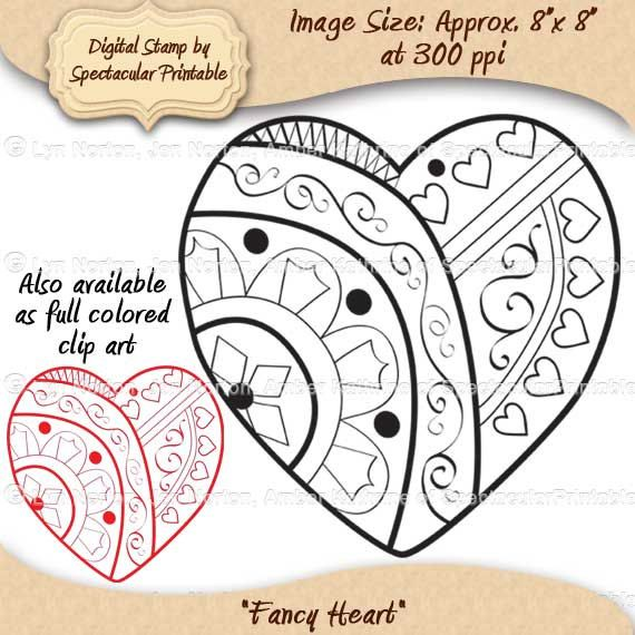INSTANT DOWNLOAD- Fancy Heart Digital Stamp. Hi-Res 300 PPI file, in JPG and PNG format (PNG has a transparent background). Our Clip Art has clean smooth lines; you won't find any pixilated or stretched graphics here! $2.00, via Etsy. http://www.etsy.com/listing/91849303/instant-download-fancy-heart-digital#