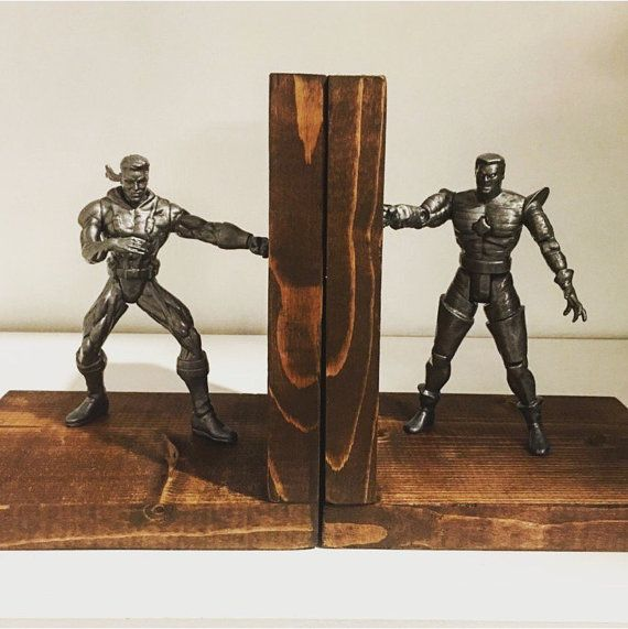 Action hero wood bookends by MakeSomeWaves on Etsy