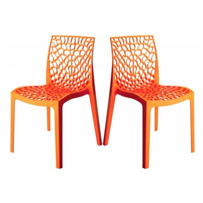 pingl par cmchaise lot de 2 chaises design orange gruyer - Chaise Orange