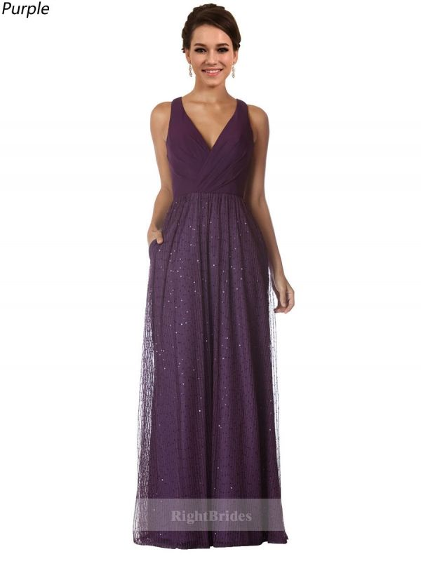 New Arrivals Long Chiffon V-Neck Sequin Lace Purple Sleeveless ...