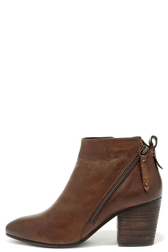 a0ebc49b618 Steve Madden Jaydun Cognac Leather Ankle Booties | Wear | Ankle ...