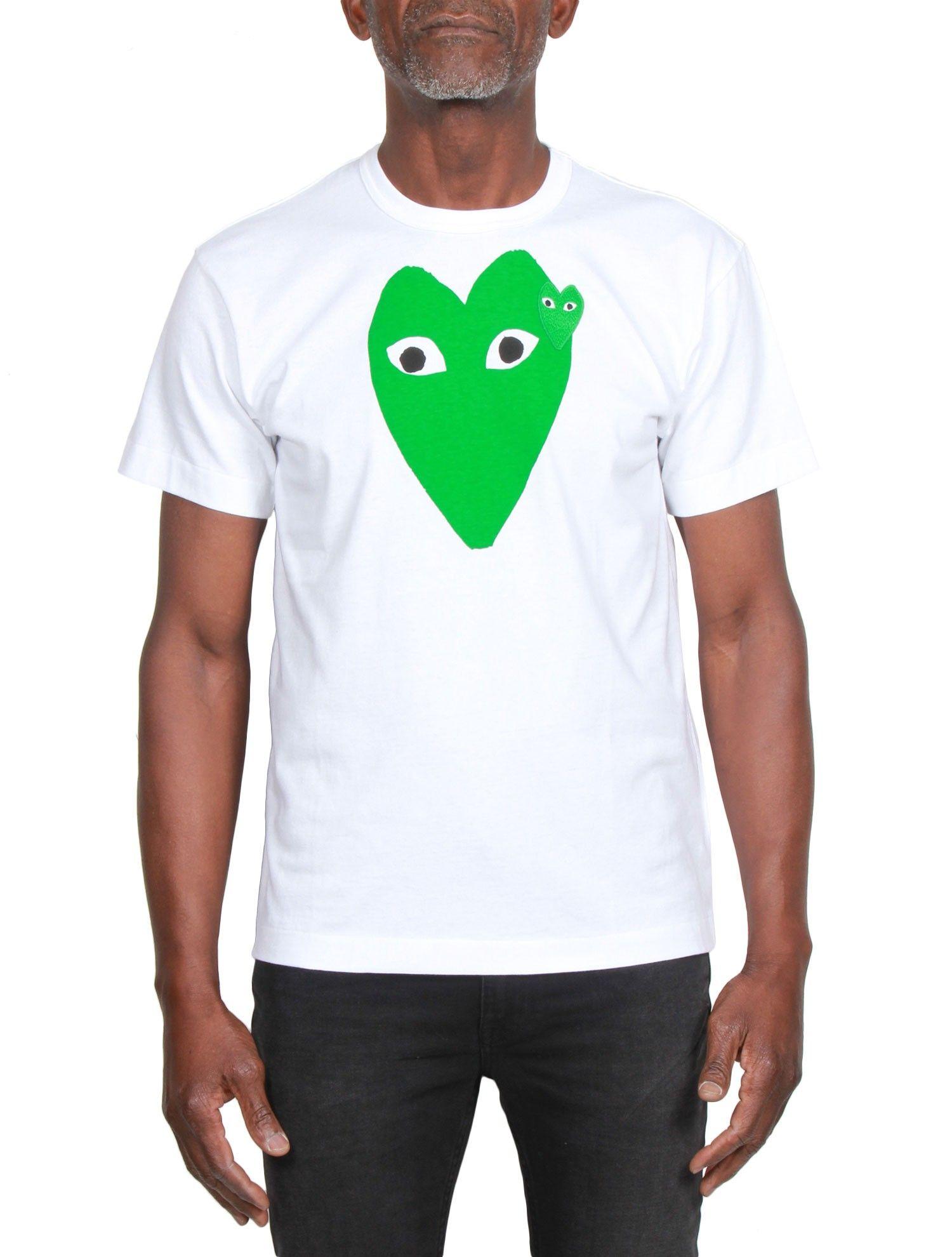COMME DES GARÇONS Play - Tee-shirt Homme Manches Courtes Blanc - Coeur Vert  - serie  2e460c2663043