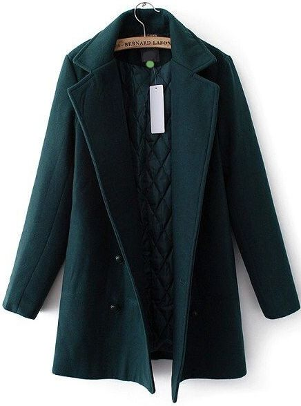 e012112fc2c94 Green Lapel Double Breasted Woolen Coat - abaday.com