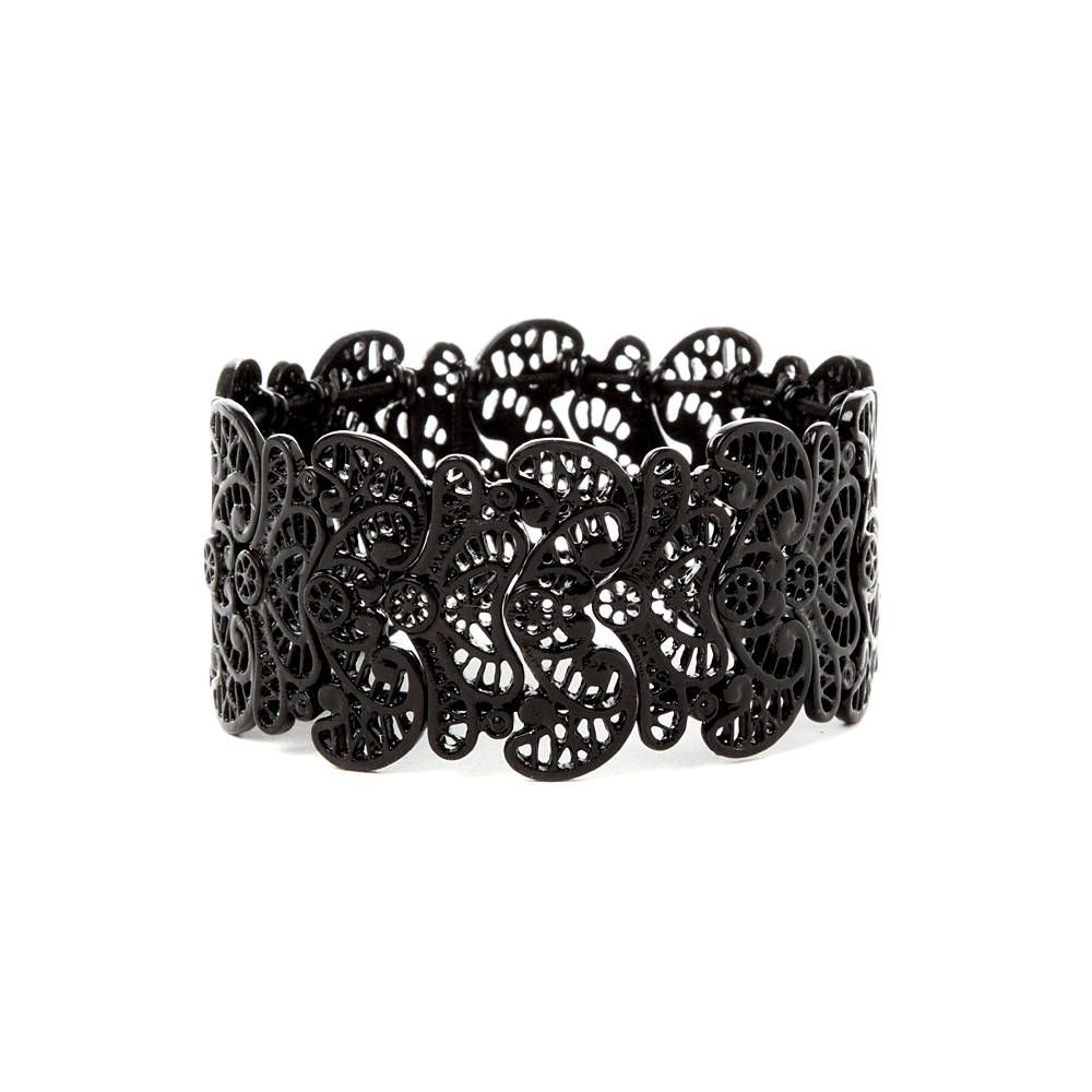 Black filigree stretch bracelet claireus costume closet
