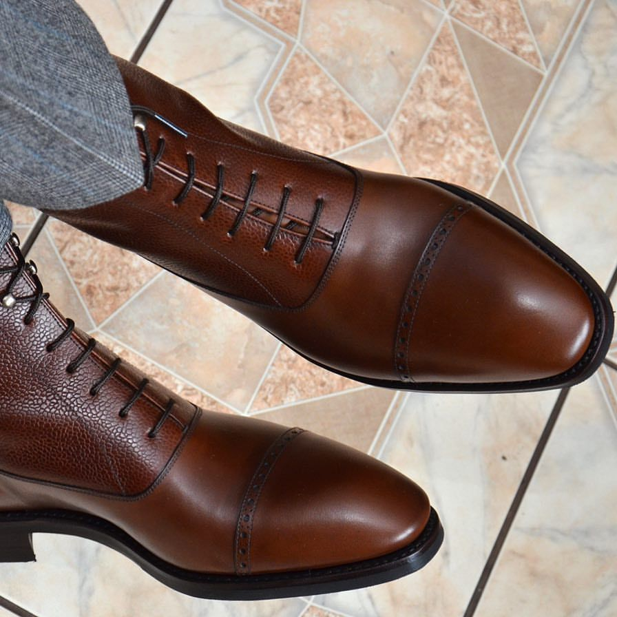 Chocolate Brown Captoe Matte Leather Dress Boots Zapatos Hombre